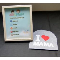Bonnet gris I love Maman